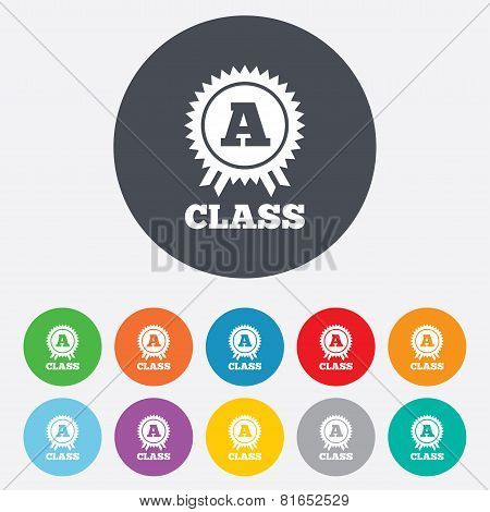 A-class award sign icon. Premium level symbol.