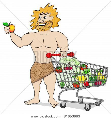 Caveman With Shopping Cart Filled With Fruit And Vegetables