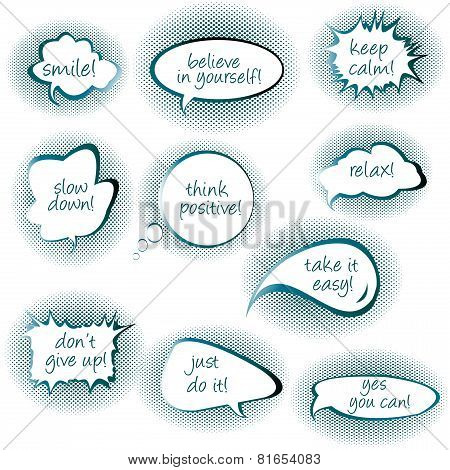Set Of Chat Bubbles With Motivational And Positive Thinkiins Messages