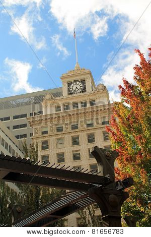 Clock Face On Top Of A Historic Building In Portland, Oregon
