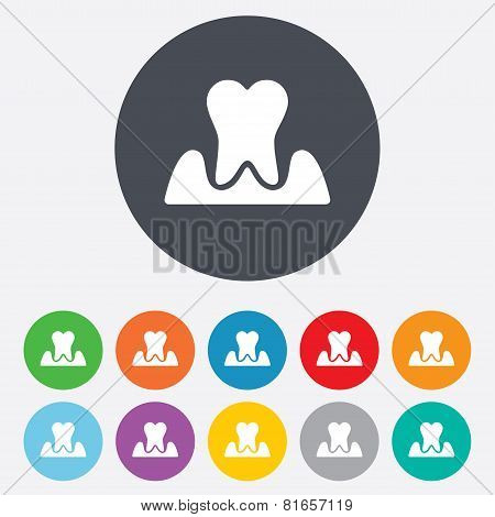 Parodontosis tooth sign icon. Dental care symbol