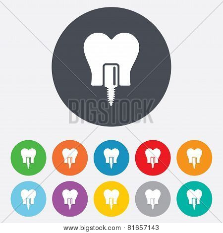 Tooth implant sign icon. Dental care symbol