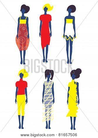 Set of dresses and fashion models