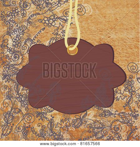 Wooden frame on the abstract floral background