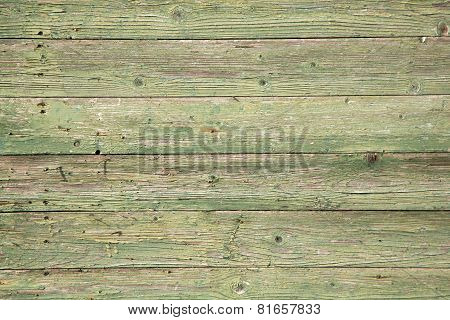 Old Planks With Peeling Green Paint