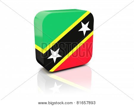Square Icon With Flag Of Saint Kitts And Nevis