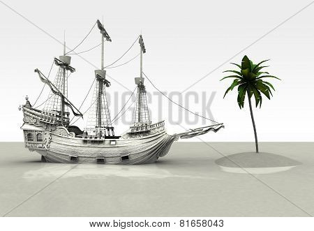 Spanish Galleon finds a palm tree