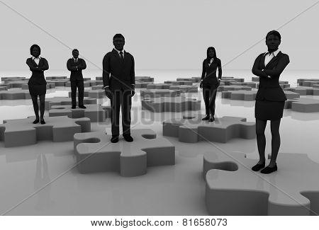 Jigsaw puzzle team