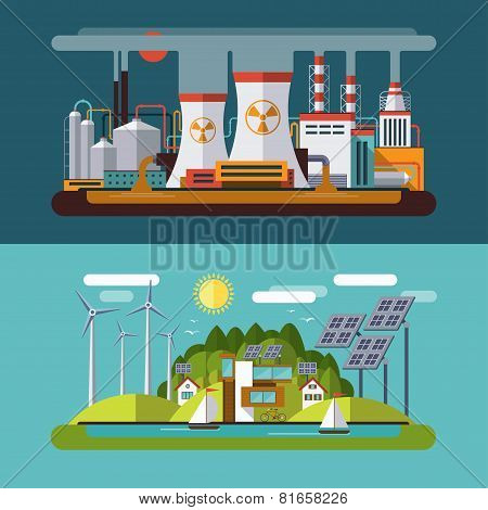 Set of flat vector ecology concept illustrations