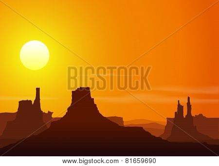 Sunset in the Rocky Mountains. Vector illustration.
