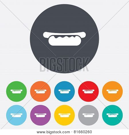 Hotdog sandwich with mustard icon. Sausage sign.