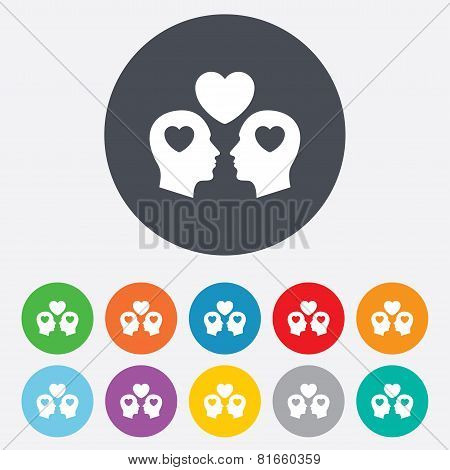 Gay couple sign icon. Male love male.