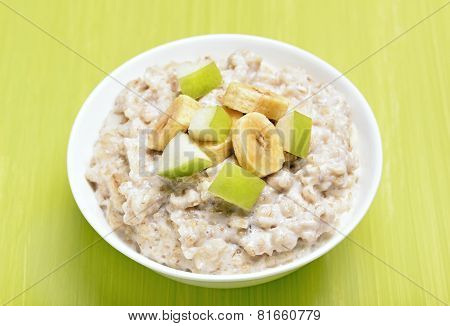 Porridge With Apple And Bananas Slices