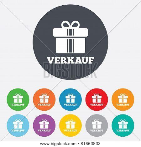 Verkauf - Sale in German sign icon. Gift.