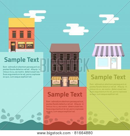 Flat Design Vector Illustration Of Small Business Concept. Houses With Shop With Place For Message