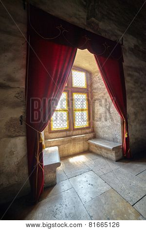 Castle Window With Curtains