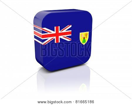 Square Icon With Flag Of Caicos Islands