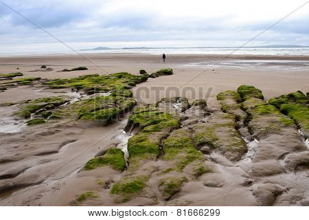 Single Girl Walking Near Unusual Mud Banks