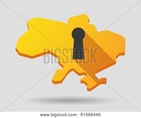 Ukraine Map Icon With A Key Hole