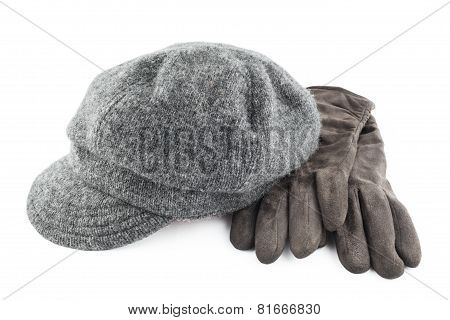 Woolen Cap And Gloves Isolated On White Background