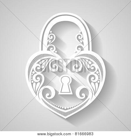 Vector Vintage Ornate Lock. Patterned Design
