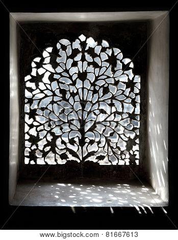 Sandstone lattice of the tomb. Mandu, India