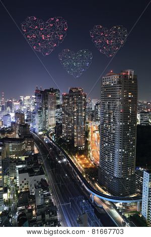 Heart Sparkle Fireworks Celebrating Over Tokyo Cityscape At Night