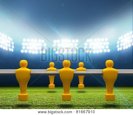 Floodlit Stadium With Foosball Players