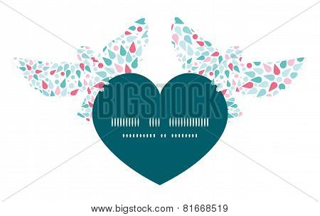 Vector abstract colorful drops birds holding heart silhouette frame pattern invitation greeting card