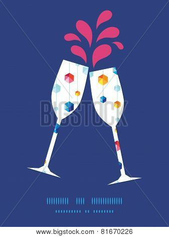 Vector abstract hanging jewels striped toasting wine glasses silhouettes pattern frame
