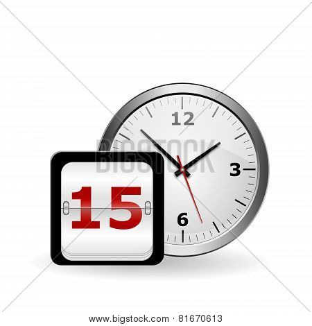 Wall Clock And Calendar On A White Background