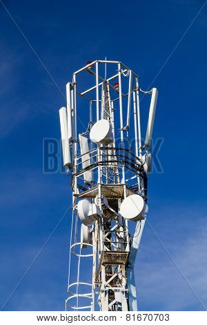 Cellular Antennas On The Top Of The Mast, Close-up On A Background Of Blue Sky