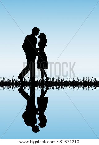Couple On Blue Background