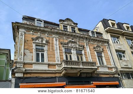 Ancient renovated building with rich decoration in Ruse town
