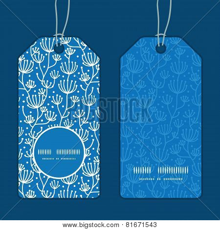 Vector blue white lineart plants vertical round frame pattern tags set