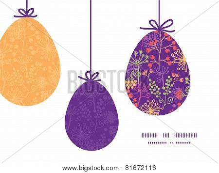 Vector colorful garden plants hanging Easter eggs ornaments sillhouettes frame card template