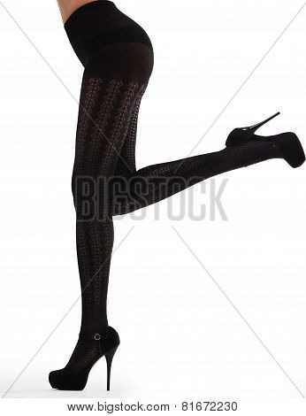 Girl In Black Pantyhose