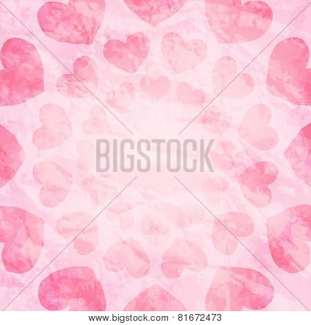 Abstract Pink Background With Hearts