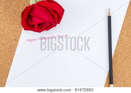 Cardboard, Corkboard With Note Paper With Pencil And Rose Beside