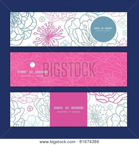 Vector gray and pink lineart florals horizontal banners set pattern background