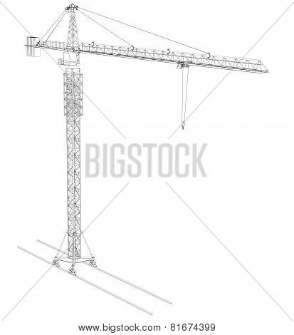 Wire-frame tower crane