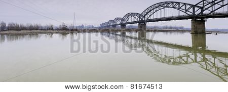 Iron bridge over the Po river. Color image