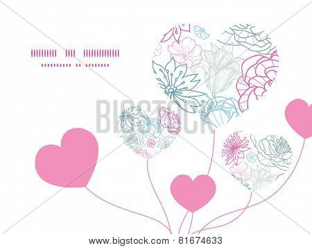 Vector gray and pink lineart florals heart symbol frame pattern invitation greeting card template