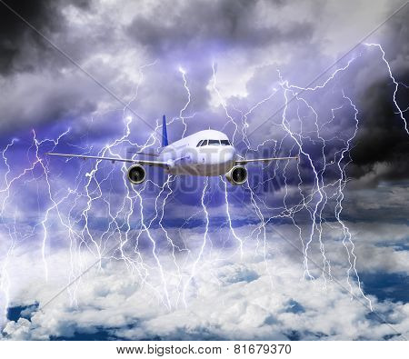 The Plane Flies Through A Storm With Lots Of Lightning