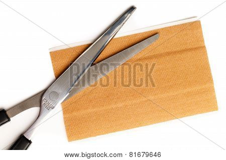 Band Aid Strip Scissors Isolated White