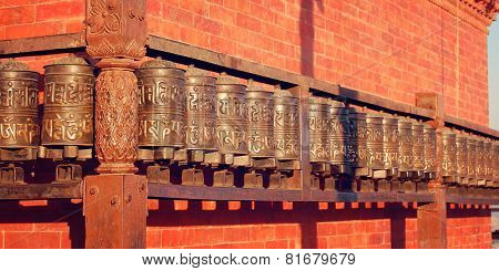 Tibetan Prayer Wheels Near Swayambhunath Stupa - Vintage Photo.