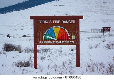 Fire Danger Sign in the Snow
