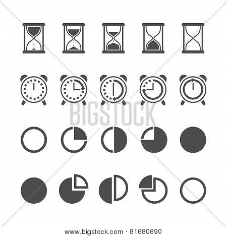 Vector isolated hourglasses and clocks icons set