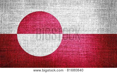 Greenland flag on burlap fabric