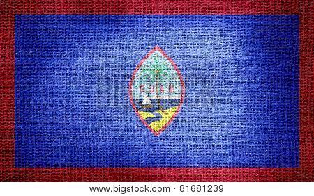 Guam flag on burlap fabric